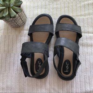 Boc black leather adjustable strap sandals size 9